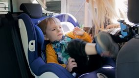 4k video of young mother seating her little son in child safety seat and adjusts belt. Caring parent using special seat stock video