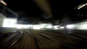 4K Vienna Underground Tram FRONT view: on-board camera shoots underground railway.  stock video