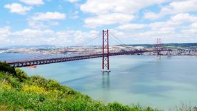 4K view of 25 de Abril (April) Bridge in Lisbon - Portugal  UHD stock video footage