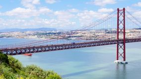 4K view of 25 de Abril (April) Bridge in Lisbon - Portugal  UHD stock video