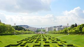 4K view of Edward vii park in Lisbon, Portugal - UHD stock footage