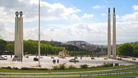 4K view of Edward vii park in Lisbon, Portugal - UHD stock video footage