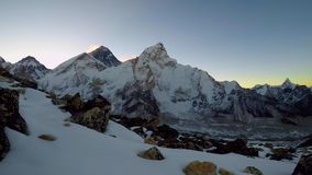 4K View of Mount Everest just before sunrise. 4K Time lapse. View of Mount Everest and Mountain Nuptse from the slope of mountain Kala Patthar in the Khumbu stock video footage