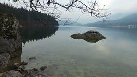4K Vista di stupore del lago Bohinj attraverso i rami di alberi Julian Alps, parco nazionale di Triglav, Slovenia, Europa Orario  archivi video