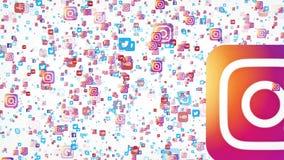 4K vliegende banners van de populairste sociale media bedrijven in de wereld stock illustratie