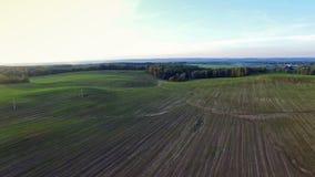 4K Volo sopra le colline verdi ed i campi al tramonto, vista aerea stock footage