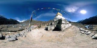 4K VR Dingboche i Pheriche wioska w Nepal, podstawowy punkt Everest podstawowego obozu ślad EBC Buddyjska stupa dalej zdjęcie wideo