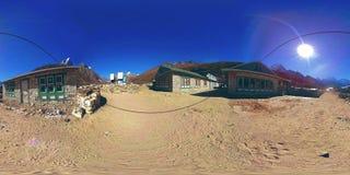 4K VR Dingboche i Pheriche wioska w Nepal, podstawowy punkt Everest podstawowego obozu ślad EBC Buddyjska stupa dalej zbiory