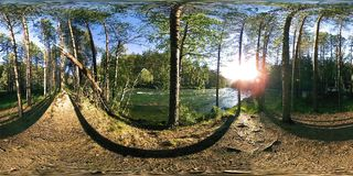 UHD 4K 360 VR Virtual Reality of a river flows over rocks in beautiful mountain forest landscape stock video footage