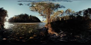 4K 360 VR Virtual Reality of a river flows over rocks in this beautiful forest stock video footage