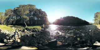 4K 360 VR Virtual Reality of a river flows over rocks in this beautiful forest stock footage