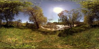 UHD 4K 360 VR Virtual Reality of a river flows over rocks in beautiful mountain forest landscape stock footage