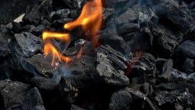 4K Węgla drzewnego grilla płonąć Dym i p?omienie Gorący węgiel i płomień w grillu zbiory wideo