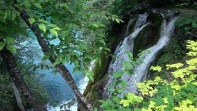 4K. Waterfall in Plitvice Lakes National Park, a beautiful place, Croatia stock video footage