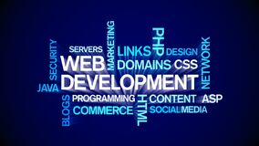 4k Web Development Animated Tag Word Cloud,Text Design Animation Typography.