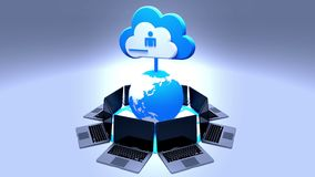 4k, werk de informatieve wolk bij, roteren aarde en laptop, uploadt vooruitgang royalty-vrije illustratie