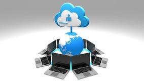 4k, werk de informatieve wolk bij, roteren aarde en laptop, uploadt vooruitgang vector illustratie