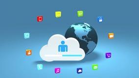 4k, werk de informatieve wolk bij, roteren aarde, uploaden vooruitgang, de achtergrond van Webtechnologie stock video