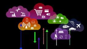 4k, werk de informatieve wolk bij, upload en downloadend vooruitgang, Webtechnologie vector illustratie