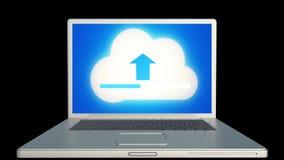 4k, werk de informatieve wolk op het laptop scherm bij, uploaden vooruitgang stock illustratie