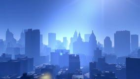 4k widok z lotu ptaka miastowy budynek, lata przez NewYork, architektury sylwetka ilustracji
