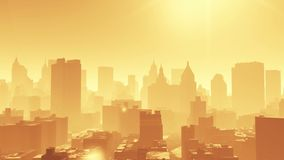 4k widok z lotu ptaka miastowy budynek, lata przez NewYork, architektury sylwetka zbiory