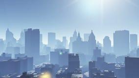 4k widok z lotu ptaka miastowy budynek, lata przez NewYork, architektury sylwetka zbiory wideo