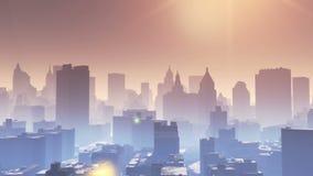 4k widok z lotu ptaka miastowy budynek, lata przez Nowy Jork pod światłem słonecznym, współczesny świat konstrukcja, architektury royalty ilustracja