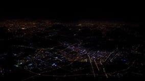 4K widoku z lotu ptaka światło domy i drogi Szanghaj miasto Odgórny widok przy nocą zdjęcie wideo