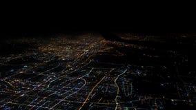 4K widoku z lotu ptaka światło domy i drogi Szanghaj miasto Odgórny widok przy nocą zbiory