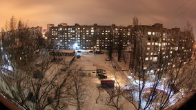 4K. Winter. Buildings with flats at night, timelapse. Ultra HD stock footage