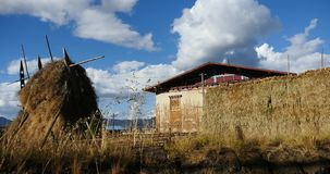 4k Winter fodder in tibet house & Courtyard,Shangri-La yunnan,china. stock video
