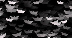 4K Witboekboten op zwarte kleur stock footage