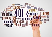 401k word cloud and hand with marker concept. 401k, word cloud and hand with marker concept on white background. 401k - retirement savings plan sponsored by stock photography