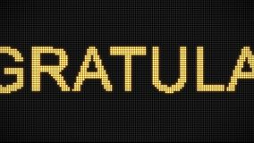 4K Word congratulation text on the LED board. Vintage style. Motion graphic and animation background. Yellow text and glow. Moving text. Retro style stock footage