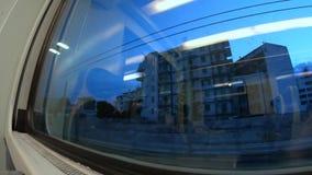 4k wschodu słońca timelapse, patrzeje od taborowego okno podczas transportu, Południowy Włochy zbiory wideo