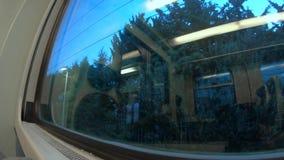 4k wschodu słońca timelapse, patrzeje od taborowego okno podczas transportu, Południowy Włochy zbiory