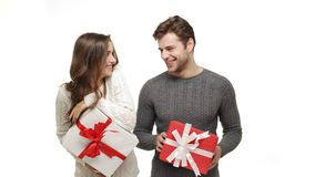 4k young couple in sweaters enjoy dancing celebrate for christmas fun together feeling attraction. 4k young couple in sweaters enjoy dancing celebrate for stock video footage