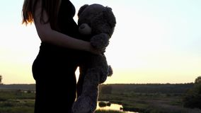 4k - Young pregnant girl play with bear at sunset. The action in the real time stock video