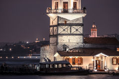 Kız kulesi ve galata kulesigalata tower and Maiden`s Tower Stock Photos