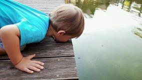 4k zbliżenia materiał filmowy patrzeje jego odbicie w jezioro wodzie na wodnych striders na powierzchni i berbeć chłopiec zbiory wideo