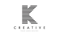 K Zebra Letter Logo Design with Black and White Stripes Royalty Free Stock Images