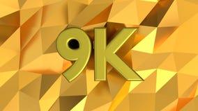 9K znamię na błyszczącym złotym deseniowym tle zdjęcie stock