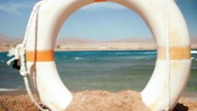 4k zwolnionego tempa piękny wideo życia oszczędzania ringowy boja digged w piasku na morze plaży zbiory