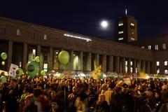 K21 demonstration Night - Stuttgart21 Stock Photo
