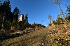 The Kašperk castle. Czech republic - EU. On the way to the castle stock photography