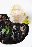 Kałamarnica w atramencie z ryż i pietruszką Fotografia Stock