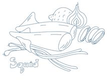 Kałamarnica z warzywami, malującymi w stylu Doodle ilustracji