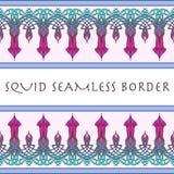 Kałamarnicy bezszwowa granica Malujący nakreślenie Zdjęcie Royalty Free