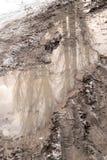 Kałuża na drodze w zimie zdjęcie royalty free